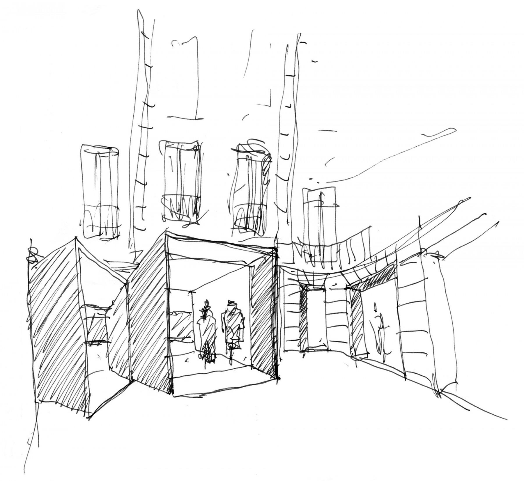 BHV-Galeries-Lafayette-Paris-retail-France-Hôtel-de-Ville-Department-store-shopping-Jamie-Fobert-Architects-sketch-2