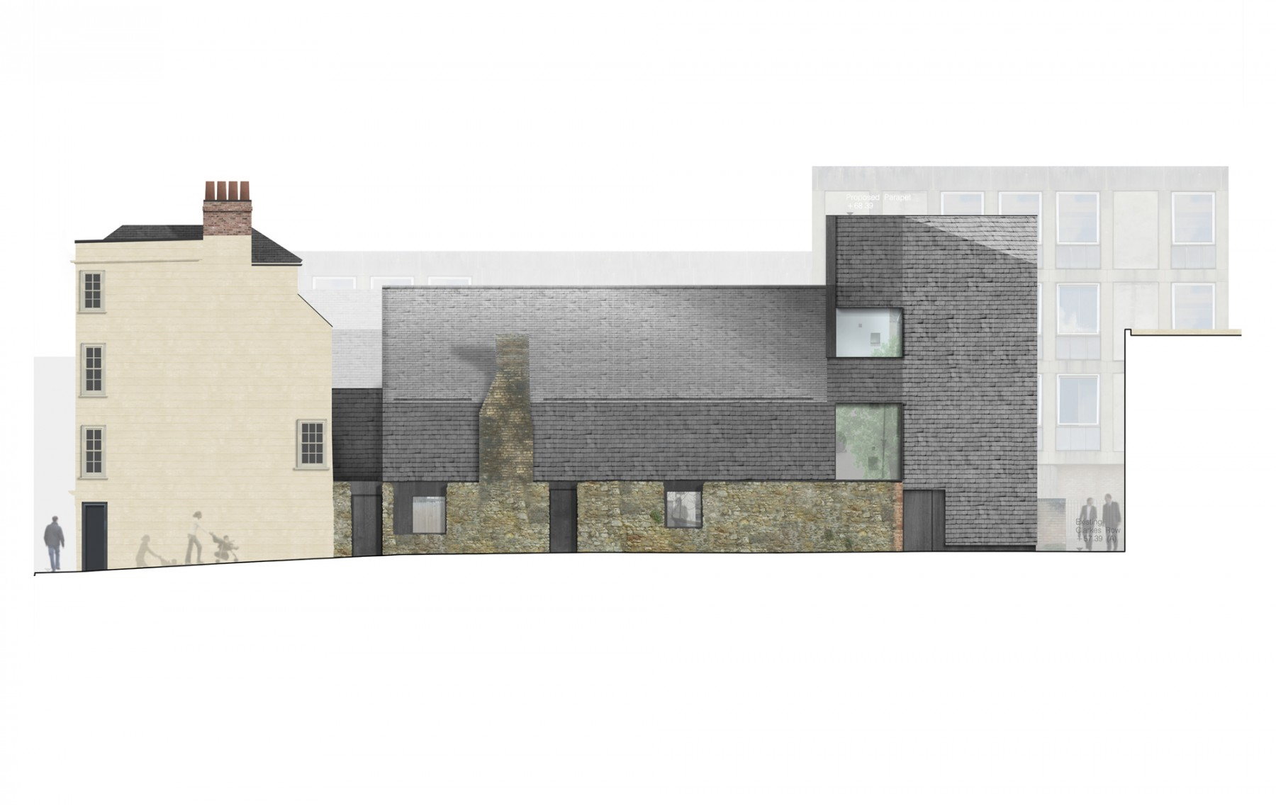 St-Aldates-Oxford-contemporary-modern-historic-residential-home-Jamie-Fobert-Architects-elevation-north