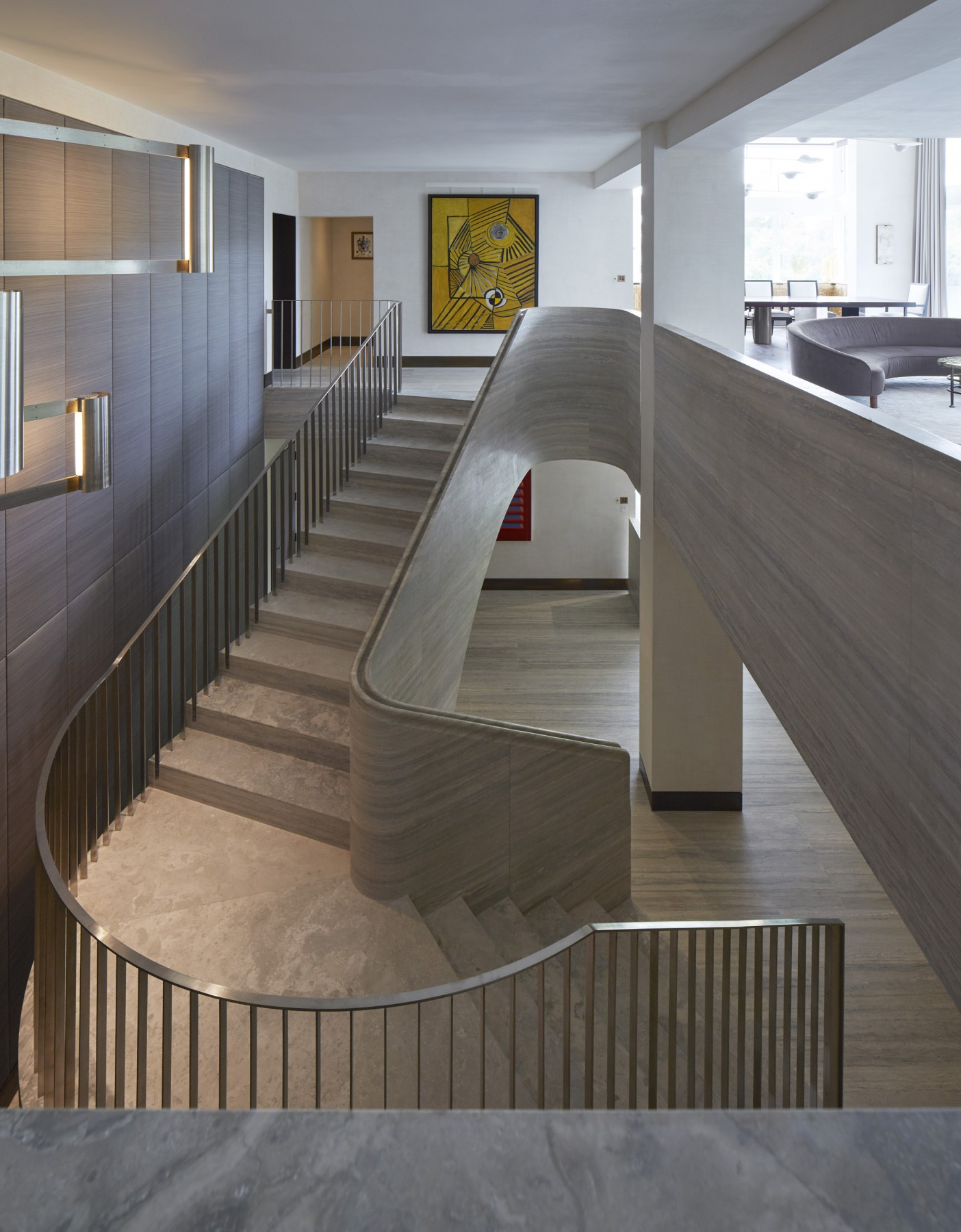 Jamie-Fobert-Architects- Travertine-stair-central-London-duplex-luxury-apartment- elegant-stone-stair