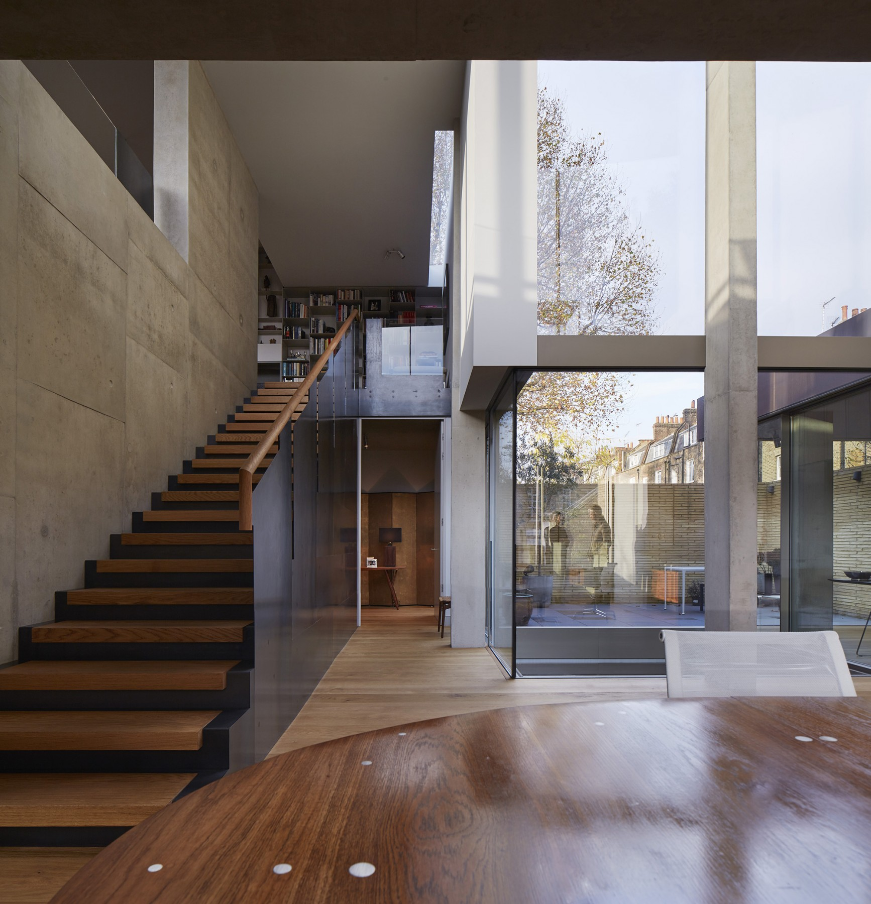 Levering-House-contemporary-modern-London-residential-home-Jamie-Fobert-Architects-Doughty-Mews-Stairs-Steel-Windows