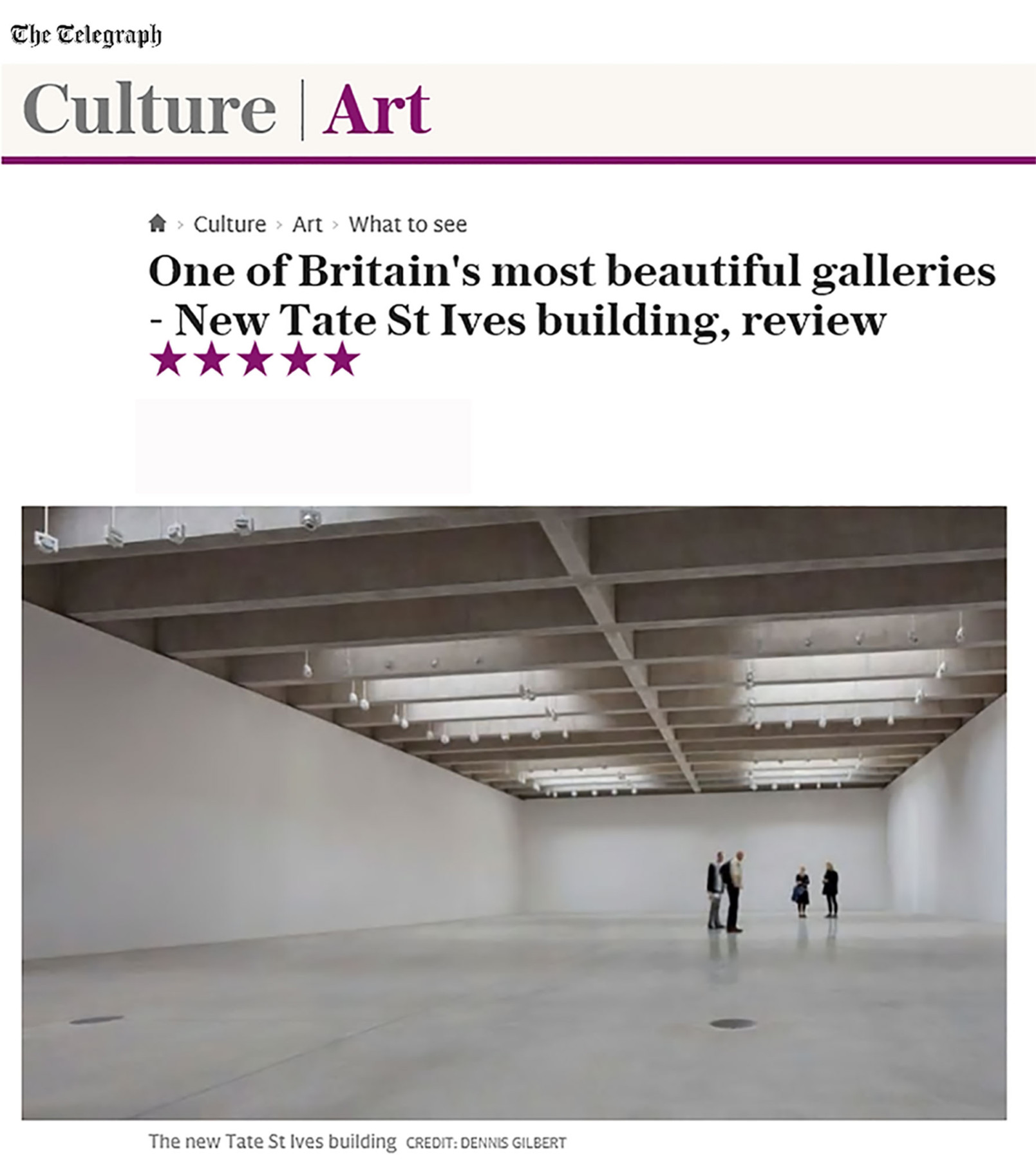 Jamie-Fobert-Architects-Telegraph-Online-Magazine-Tate-St-Ives-Cultural-Gallery-Modern-Contemporary-News-Project-Press-Article