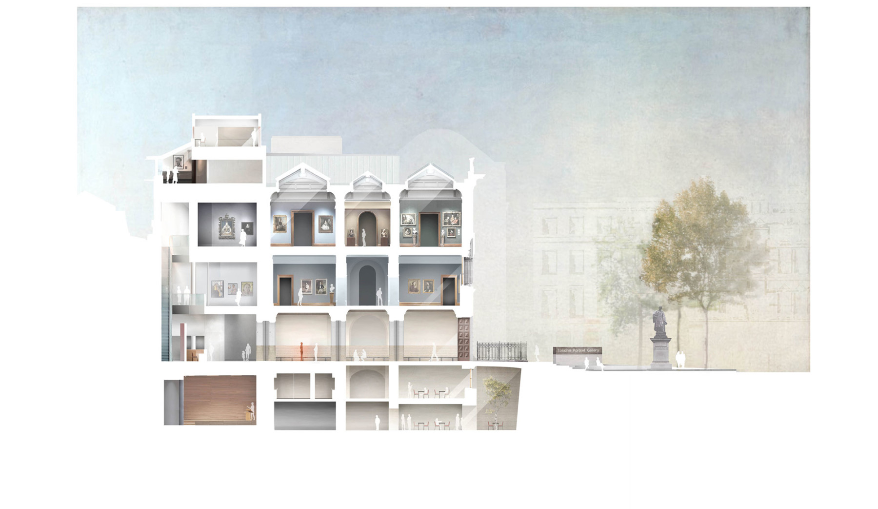 National-portrait-gallery proposed-North-Wing-section Jamie-Fobert-Architects