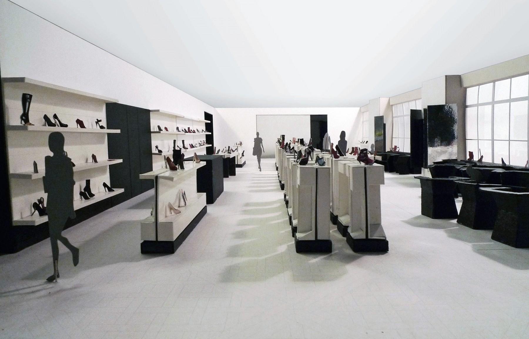 Selfridges-London-designer-fashion-retail-Jamie-Fobert-Architects-shoe-galleries-alabaster-plinths-model