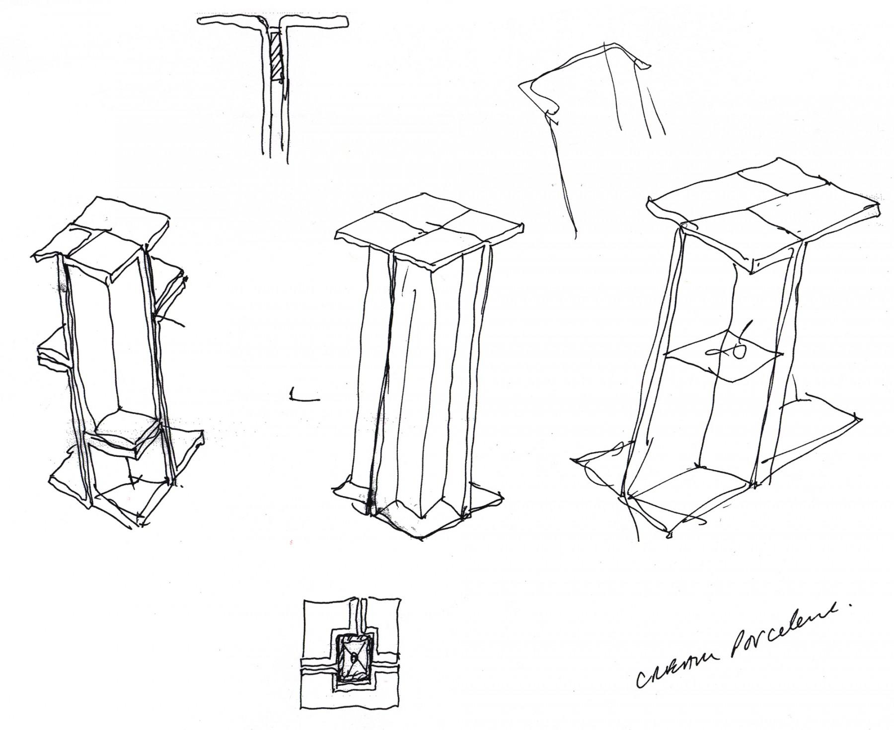 Selfridges-London-designer-fashion-retail-Jamie-Fobert-Architects-shoe-galleries-alabaster-plinths-sketches-1