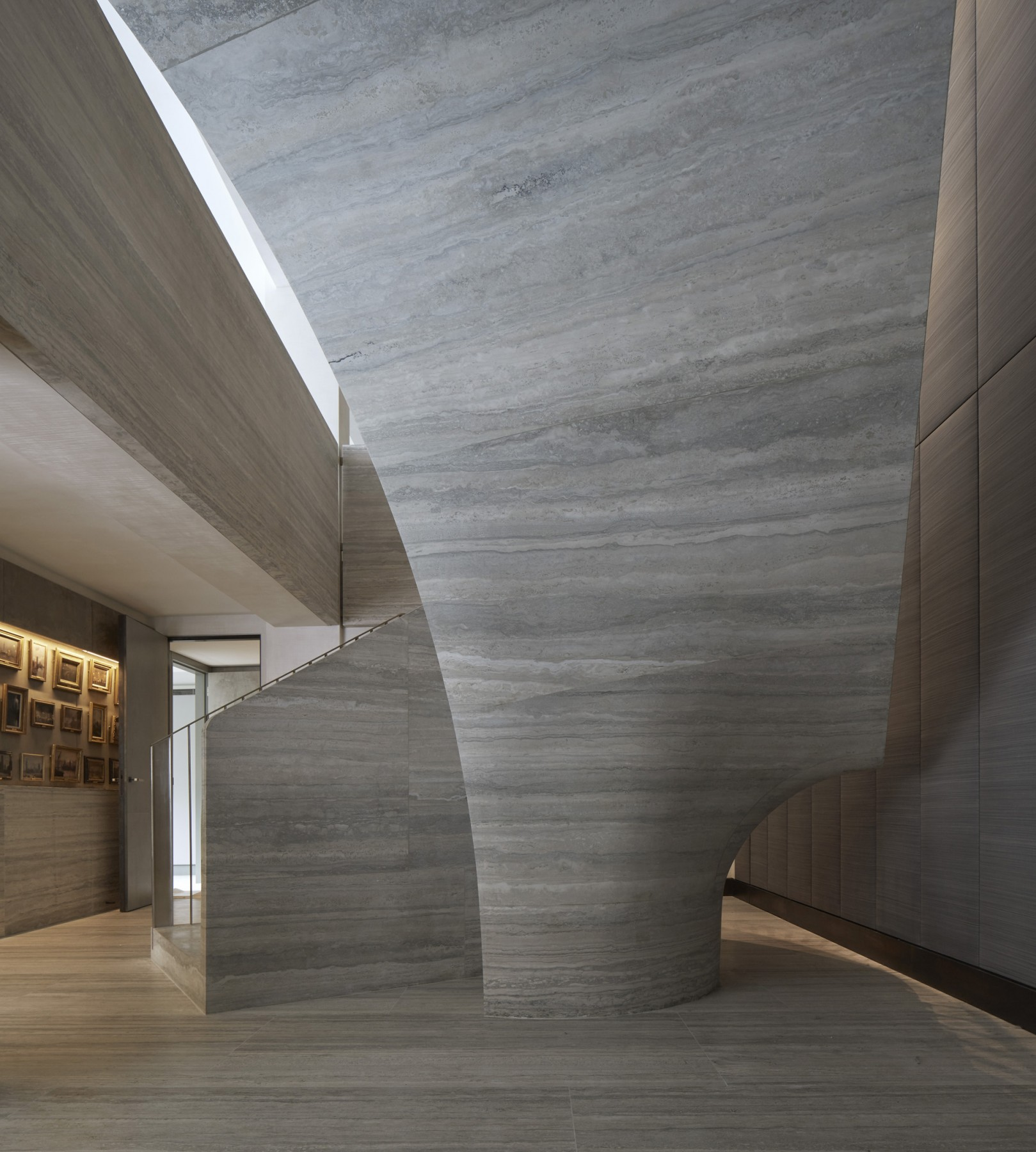 Jamie-Fobert-Architects- Travertine-stair-central-London-duplex-luxury-apartment- beautiful-stone-stair