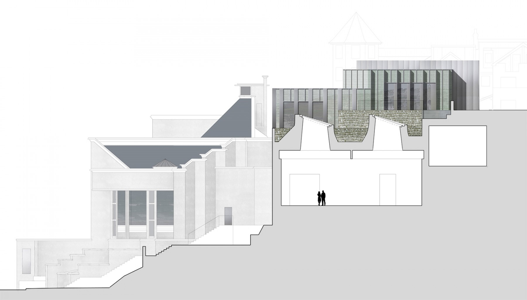 Tate-St-Ives-Cornwall-council-new-Extension-competition-Art-gallery-education-Jamie-Fobert-Architects-section