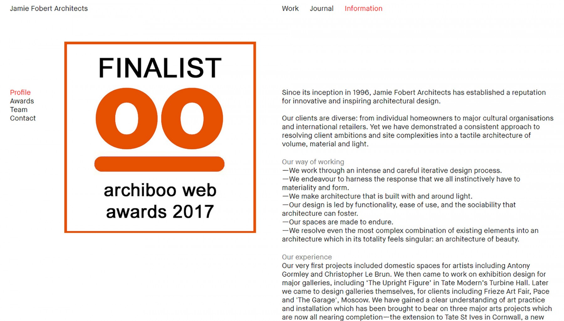 Archiboo web awards shortlist