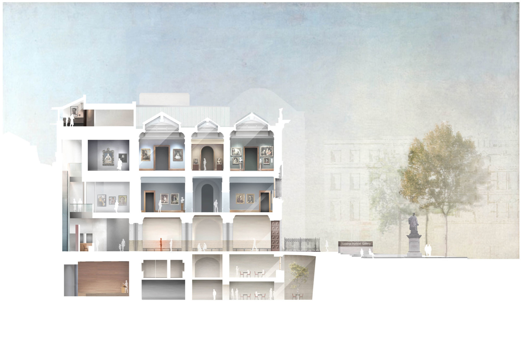 NPG proposed-North-Wing-section Jamie-Fobert-Architects