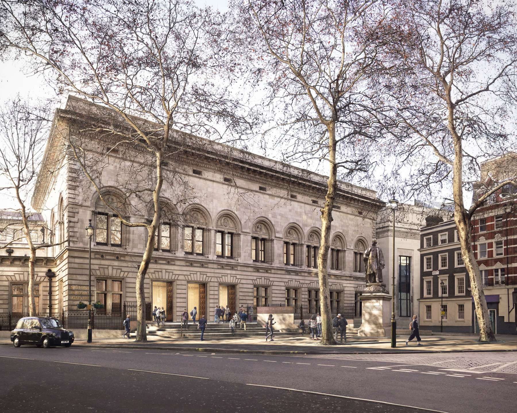 national-portrait-gallery forecourt-proposal Jamie-Fobert-Architects Forbes-Massie light